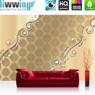 liwwing Vlies Fototapete 416x254cm PREMIUM PLUS Wand Foto Tapete Wand Bild Vliestapete - Ornamente Tapete Illustration Muster Metalleffekt Ranke verspielt gold - no. 2644