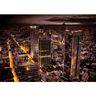 Fototapete Skylines Tapete Panorama Skyline Häuser Straßen Nacht Lichter braun | no. 952