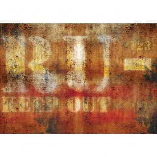 Fototapete Texturen Tapete Metall Metalloptik Schriftzug ocker   no. 2133