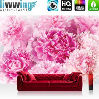 liwwing Fototapete 368x254 cm PREMIUM Wand Foto Tapete Wand Bild Papiertapete - Blumen Tapete Blüten Rosen Pfingstrosen Frühling pink - no. 2259