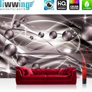 liwwing Vlies Fototapete 416x254cm PREMIUM PLUS Wand Foto Tapete Wand Bild Vliestapete - Kunst Tapete Kugeln Abstrakt Linien Schnörkel lila - no. 2536