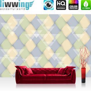 liwwing Fototapete 368x254 cm PREMIUM Wand Foto Tapete Wand Bild Papiertapete - Illustrationen Tapete Abstrakt Rechtecke Dreiecke Formen bunt Muster blau - no. 392
