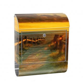 Edelstahl Wandbriefkasten XXL mit Motiv & Zeitungsrolle | Sonnenaufgang Strand Meer Felsen Sunset | no. 0064