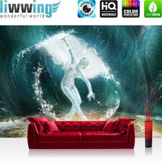 liwwing Vlies Fototapete 300x210 cm PREMIUM PLUS Wand Foto Tapete Wand Bild Vliestapete - Meer Tapete Skulptur Frau Sand Wasser Welle Ozean Strand blau - no. 962
