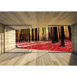 Fototapete Holz Tapete Holzoptik Wald Bäume Blätter Fenster Rahmen beige | no. 2158