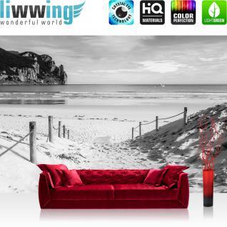 liwwing Vlies Fototapete 312x219cm PREMIUM PLUS Wand Foto Tapete Wand Bild Vliestapete - Strand Tapete Wasser Meer Weg schwarz weiß - no. 1850