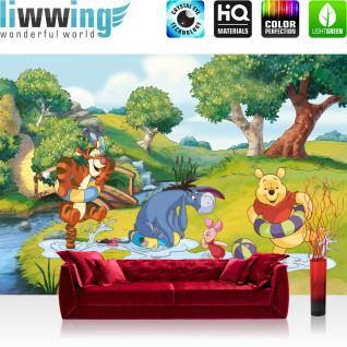 liwwing Vlies Fototapete 350x245 cm PREMIUM PLUS Wand Foto Tapete Wand Bild Vliestapete - Disney Tapete Disney - Winnie Pooh - Tigger Kindertapete Cartoon Wasser Bubble Enten blau - no. 1119