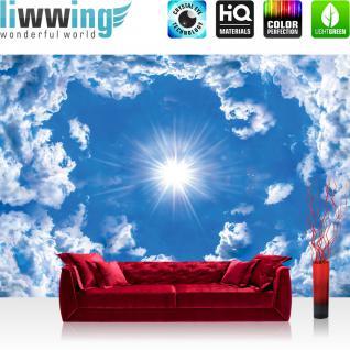 liwwing Fototapete 368x254 cm PREMIUM Wand Foto Tapete Wand Bild Papiertapete - Himmel Tapete Wolke Wolken Sonne Licht Strahlen blau - no. 2389
