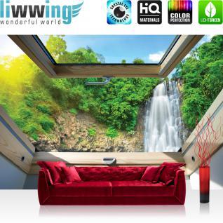 liwwing Vlies Fototapete 312x219cm PREMIUM PLUS Wand Foto Tapete Wand Bild Vliestapete - Berge Tapete Wasserfall Wald Fenster Tropen natural - no. 3304
