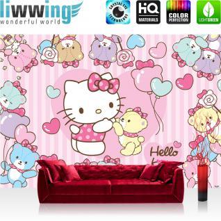liwwing Fototapete 368x254 cm PREMIUM Wand Foto Tapete Wand Bild Papiertapete - Mädchen Tapete Hello Kitty - Kindertapete Cartoon Katze Bären Herzen Liebe rosa - no. 1028