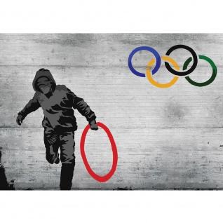 Fototapete Sport Tapete Ringe Olympische Spiele Steinmauer Stein Mauer Sport grau | no. 1266