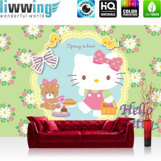 liwwing Vlies Fototapete 300x210 cm PREMIUM PLUS Wand Foto Tapete Wand Bild Vliestapete - Mädchen Tapete Hello Kitty - Kindertapete Cartoon Katze Blumen Vögel Frühling grün - no. 511