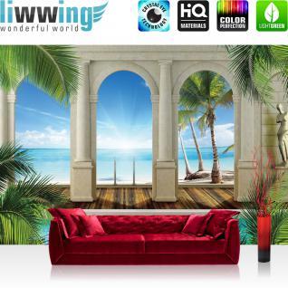 liwwing Vlies Fototapete 400x280 cm PREMIUM PLUS Wand Foto Tapete Wand Bild Vliestapete - Wasser Tapete Palme Wasserfall Bogen grün - no. 415