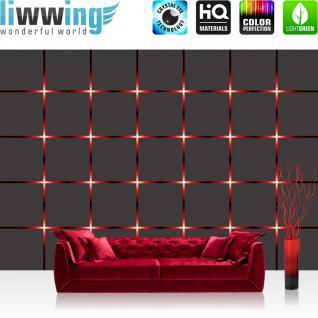 liwwing Vlies Fototapete 416x254cm PREMIUM PLUS Wand Foto Tapete Wand Bild Vliestapete - Illustrationen Tapete Kacheln Schein Vierecke anthrazit - no. 3086