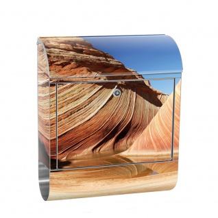 Edelstahl Wandbriefkasten XXL mit Motiv & Zeitungsrolle | Sand Düne Wüste Urlaub Sonne | no. 0233