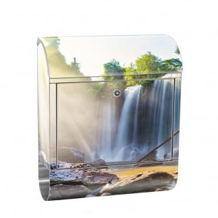 Edelstahl Wandbriefkasten XXL mit Motiv & Zeitungsrolle | Wasserfall Bäume Natur Sonne Steine | no. 0259