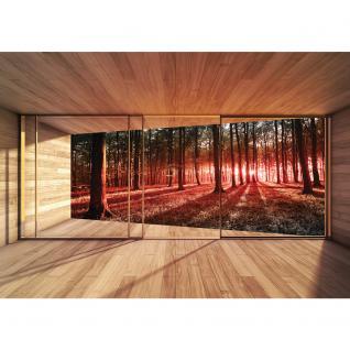 liwwing Vlies Fototapete 104x50.5cm PREMIUM PLUS Wand Foto Tapete Wand Bild Vliestapete - Wald Tapete Raum Holz Wald Bäume Natur rot - no. 3138 - Vorschau 2