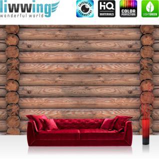 liwwing Fototapete 368x254 cm PREMIUM Wand Foto Tapete Wand Bild Papiertapete - Holz Tapete Bretter Holzwand Holzstämme braun - no. 1234