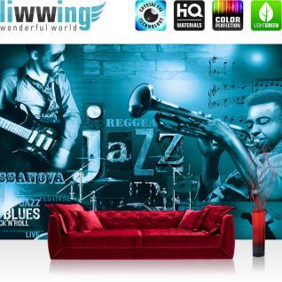 liwwing Vlies Fototapete 416x254cm PREMIUM PLUS Wand Foto Tapete Wand Bild Vliestapete - Kunst Tapete Musik Kunst Jazz Reggae Gitarre Schlagzeug Trompeten petrol - no. 2648
