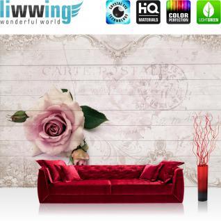 liwwing Vlies Fototapete 208x146cm PREMIUM PLUS Wand Foto Tapete Wand Bild Vliestapete - Blumen Tapete Holz Holzoptik Blume Rose Blüte Blätter weiß - no. 1663