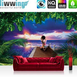 liwwing Vlies Fototapete 416x254cm PREMIUM PLUS Wand Foto Tapete Wand Bild Vliestapete - Meer Tapete Paradies Tattoo Frau Meer Steg Palmen Sonnenuntergang Wasser blau - no. 1310