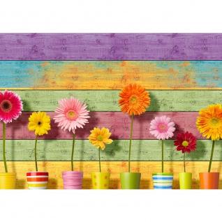 Fototapete Holz Tapete Holzwand Holzoptik Blumen Sonnenblumen bunt | no. 2299