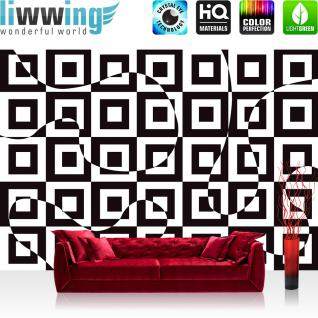 liwwing Vlies Fototapete 312x219cm PREMIUM PLUS Wand Foto Tapete Wand Bild Vliestapete - Kunst Tapete Abstrakt Muster Quadrate Kunst schwarz weiß - no. 2302
