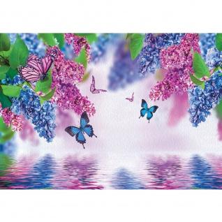 Fototapete Blumen Tapete Flieder Schmetterling Blume Wasser lila | no. 418