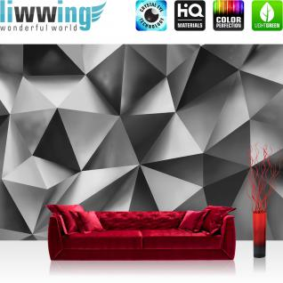 liwwing Vlies Fototapete 312x219cm PREMIUM PLUS Wand Foto Tapete Wand Bild Vliestapete - Kunst Tapete Abstrakt Design Dreiecke Pyramiden grau - no. 2921