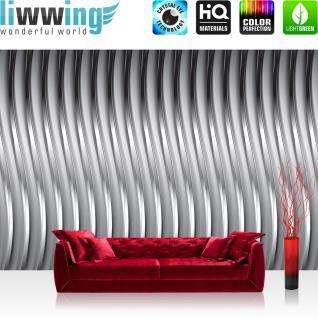 liwwing Vlies Fototapete 416x254cm PREMIUM PLUS Wand Foto Tapete Wand Bild Vliestapete - 3D Tapete Illustration Muster Metalloptik grau - no. 2663