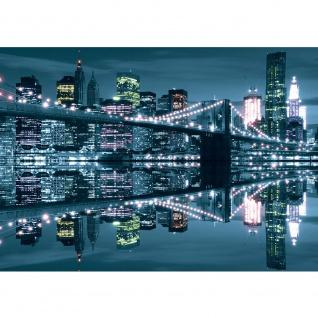 Fototapete Skylines Tapete Skyline Stadt Brücke Wasser Lightning Lichter Spiegelung anthrazit | no. 3081