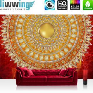 liwwing Vlies Fototapete 254x184cm PREMIUM PLUS Wand Foto Tapete Wand Bild Vliestapete - Ornamente Tapete Mandala Sterne Perlen rot - no. 3233