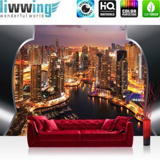 liwwing Fototapete 368x254 cm PREMIUM Wand Foto Tapete Wand Bild Papiertapete - Skylines Tapete Skyline Panorama Hafen Lightning Rahmen City orange - no. 629