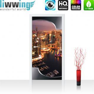 liwwing Vlies Türtapete 91x211 cm PREMIUM PLUS Tür Fototapete Türposter Türpanel Foto Tapete Bild - Skyline Panorama Hafen Lightning Rahmen - no. 629