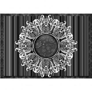 Fototapete Ornamente Tapete Kreis Streifen Abstrakt schwarz - weiß | no. 1250