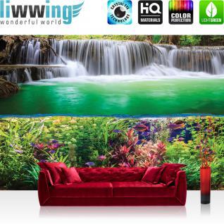 liwwing Fototapete 368x254 cm PREMIUM Wand Foto Tapete Wand Bild Papiertapete - Wasser Tapete Wasserfall Fische Wasser Blumen Blätter grün - no. 2540