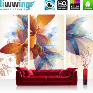 liwwing Fototapete 368x254 cm PREMIUM Wand Foto Tapete Wand Bild Papiertapete - Kunst Tapete Malerei Blume Blätter Farbe Design beige - no. 1441