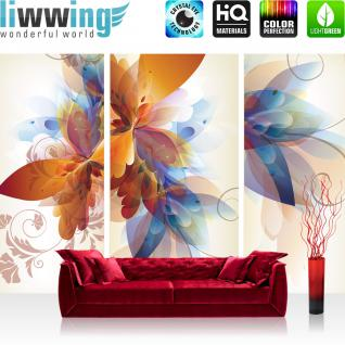liwwing Vlies Fototapete 208x146cm PREMIUM PLUS Wand Foto Tapete Wand Bild Vliestapete - Kunst Tapete Malerei Blume Blätter Farbe Design beige - no. 1441