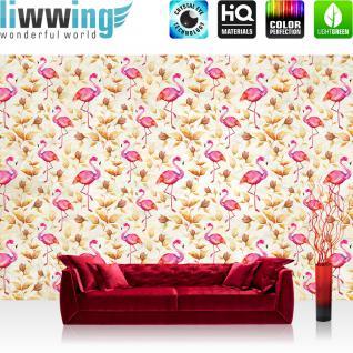liwwing Fototapete 368x254 cm PREMIUM Wand Foto Tapete Wand Bild Papiertapete - Tiere Tapete Tier Flamingo Blätter Malerei Farbe pink - no. 1405