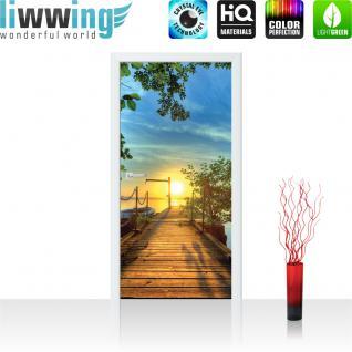 liwwing Türtapete selbstklebend 91x211 cm PREMIUM PLUS Tür Fototapete Türposter Türpanel Foto Tapete Bild - Sonnenuntergang Baum Weg - no. 636
