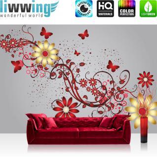 liwwing Vlies Fototapete 312x219cm PREMIUM PLUS Wand Foto Tapete Wand Bild Vliestapete - Kunst Tapete Blumen Blüten Blätter Schmetterlinge Punkte Schlingen grau - no. 2204