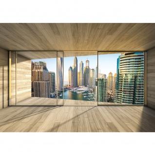 Fototapete Architektur Tapete Terrasse Balkon Fenster Holzwand Skyline Hafen Ausblick braun | no. 1404