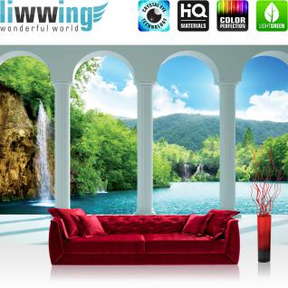 liwwing Fototapete 368x254 cm PREMIUM Wand Foto Tapete Wand Bild Papiertapete - Wasser Tapete Wasserfall See Gebirge Himmel Bogen weiß - no. 2124