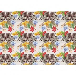 Fototapete Tiere Tapete Tiger Tier Muster Blumen Blüten Blätter bunt | no. 2222