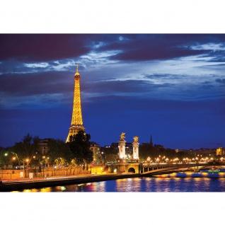 Fototapete Skylines Tapete Paris Eifelturm Fluss Nacht Lightning Skyline Stadt Panorama gelb | no. 983