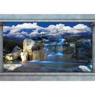 liwwing Vlies Fototapete 208x146cm PREMIUM PLUS Wand Foto Tapete Wand Bild Vliestapete - Wasser Tapete Wasserfall Felsen Himmel Säulen blau - no. 1649 - Vorschau 2