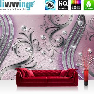 liwwing Fototapete 368x254 cm PREMIUM Wand Foto Tapete Wand Bild Papiertapete - Ornamente Tapete Abstrakt Perlen Ranke Diamant Blätter Schwung Streifen lila - no. 558