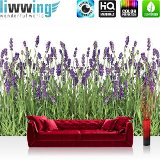 liwwing Vlies Fototapete 400x280 cm PREMIUM PLUS Wand Foto Tapete Wand Bild Vliestapete - Natur Tapete Lavendel Pflanze Wiese Blüten grün - no. 612