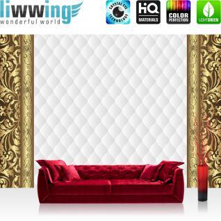 liwwing Vlies Fototapete 350x245 cm PREMIUM PLUS Wand Foto Tapete Wand Bild Vliestapete - Ornamente Tapete Abstrakt Schnörkel Muster Rechteck gold - no. 543