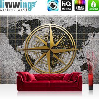 liwwing Fototapete 254x168 cm PREMIUM Wand Foto Tapete Wand Bild Papiertapete - Steinwand Tapete Steinoptik Welt Erde Kontinente Kompass Sterne grau - no. 3046